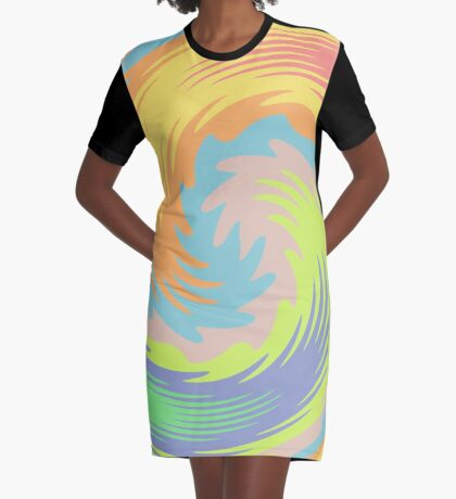 Abstract Twirl Wave Graphic T-Shirt Dress