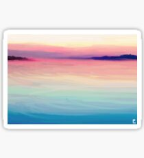 Tranquil Island Sunset at Sea Sticker
