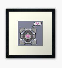 Portal Companion Cube Heartbroken Framed Print