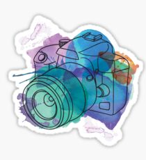 Watercolor dSLR on White Sticker