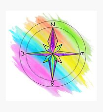 Bright Colourful Art Compass Photographic Print