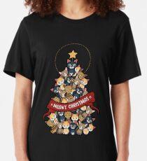 Meowy christmas funnyshirt Slim Fit T-Shirt