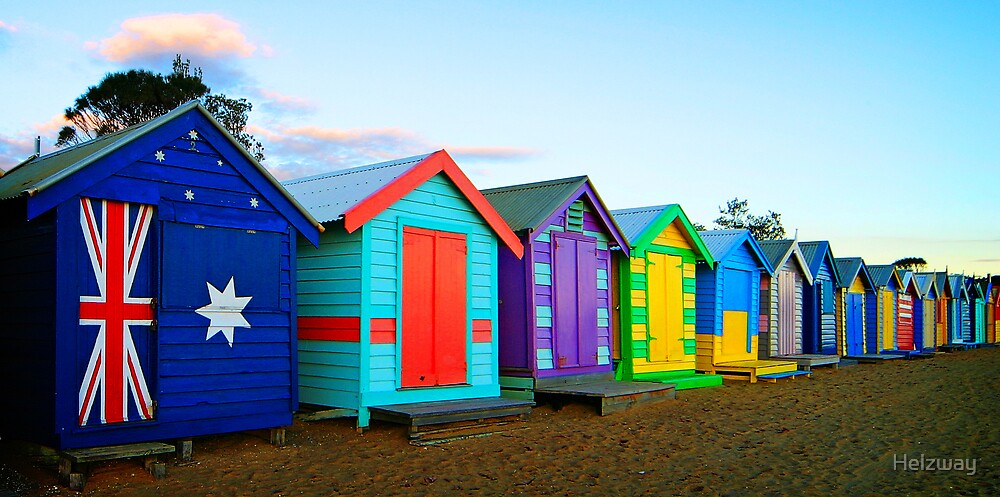 Beach Huts Oz by Helzway