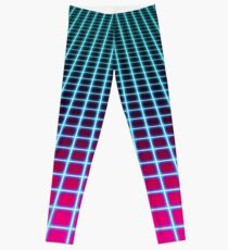 Vaporwave Ombre Grid Pattern Leggings