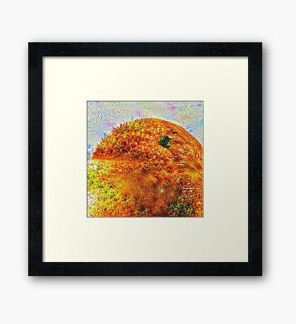 #DeepDreamed Frozen Orange Framed Print