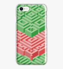 Isometric Stack in Red and Green iPhone Case/Skin