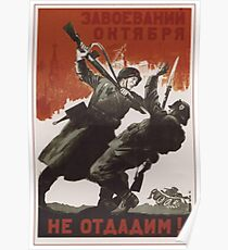 WWII Soviet Propaganda Poster Poster