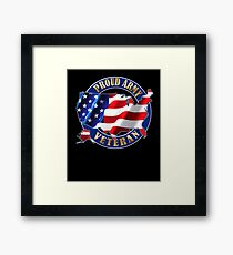 Army Veteran Proud to Be American Flag t-shirt Framed Print