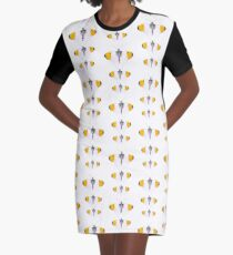 Orange Tipped Butterfly Graphic T-Shirt Dress