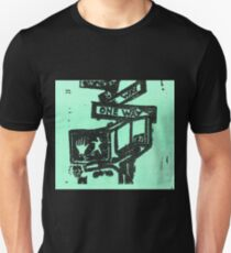 black and aqua street signs T-Shirt