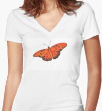Gulf Fritillary Butterfly Women's Fitted V-Neck T-Shirt
