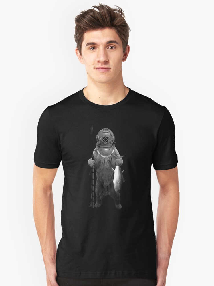 Deep Sea Diver Grizzly Bear with Harpoon and Tuna Unisex T-Shirt Front