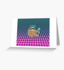 Science Sloth Vaporwave Grid Pattern Greeting Card