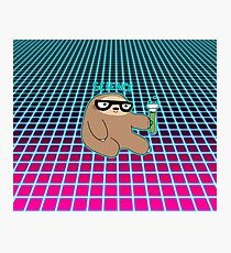 Science Sloth Vaporwave Grid Pattern Photographic Print