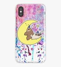 Sleepy Moon Pug and Sloth Rainbow Paint  iPhone Case/Skin