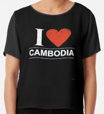 I Love Cambodia Gift For Cambodian CAMBODIA T-Shirt Sweater Hoodie Iphone Samsung Phone Case Coffee Mug Tablet Case Chiffon Top