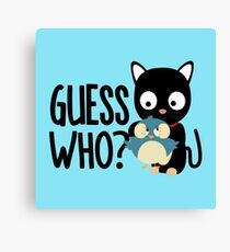 Bird and Cat Guess Who beautiful-Design Canvas Print