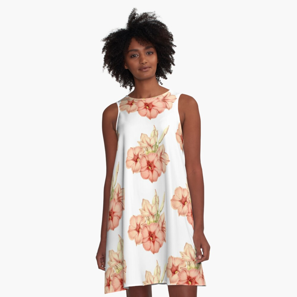 Pink Flowers Pattern A-Line Dress Front