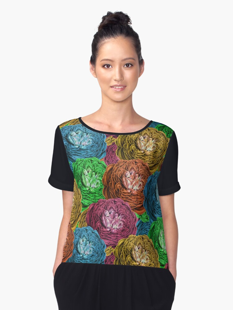 Multi-Color Roses Pattern Women's Chiffon Top Front
