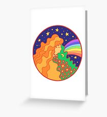 Hippie girl with flower hair Greeting Card