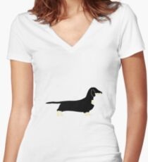 dachshund black and cream silhouette Women's Fitted V-Neck T-Shirt