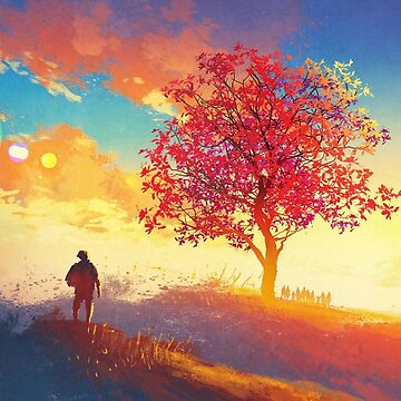 Cherry Blossom Sunset Digital Painting by bFred