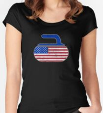 USA Curling Stone Distressed American Flag Women's Fitted Scoop T-Shirt