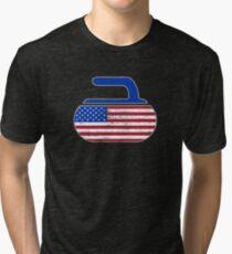 USA Curling Stone Distressed American Flag Tri-blend T-Shirt