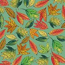 Fall Watercolor Leaf Pattern by cococreatess