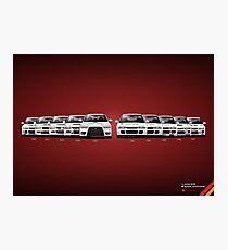 History - Mitsubishi Lancer Evolution - White Photographic Print
