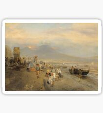 Oswald Achenbach - View of Naples at Sunset (1880) Sticker