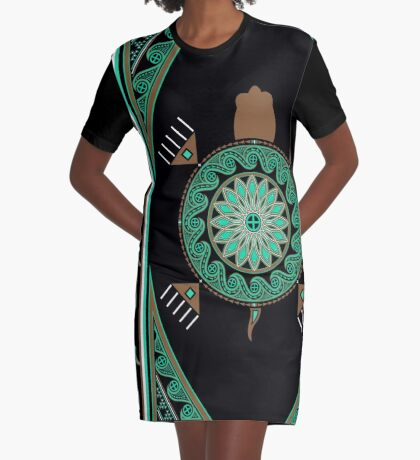 Green Turtle Graphic T-Shirt Dress