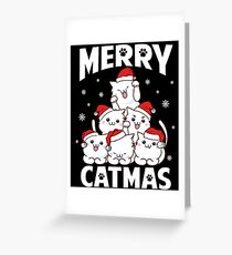 Merry Catmas Funny Pun Christmas Cat Lover Gift Greeting Card