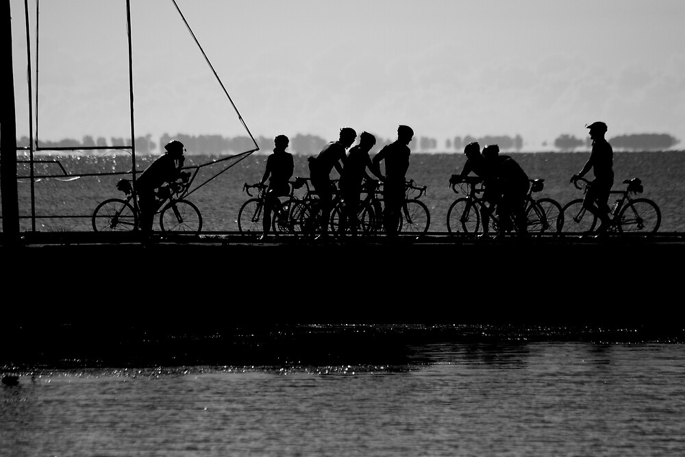 Cyclist on the Pier by Mark Solomon