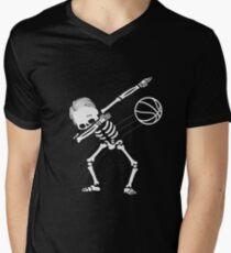 Dabbing Skeleton Basketball Halloween Gift T-Shirt