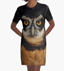 Trading Glances with a Spectacled Owl Graphic T-Shirt Dress