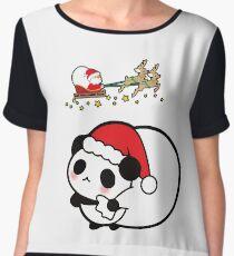 Panda Santa Hat Reindeer Christmas Blush Smile Women's Chiffon Top