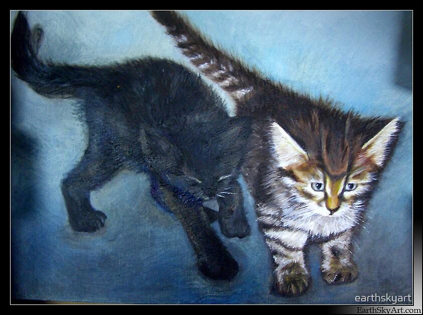 Kittens by earthskyart