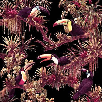 Toucans and Bromeliads - Dark Floral Edition by ikerpazstudio