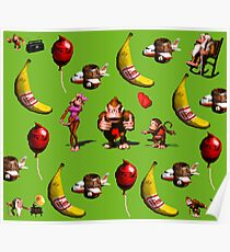 Donkey Kong Country Collage Poster