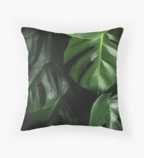 ELEGANT MONSTERA CLUSTER ABSTRACT PATTERN #2 Throw Pillow