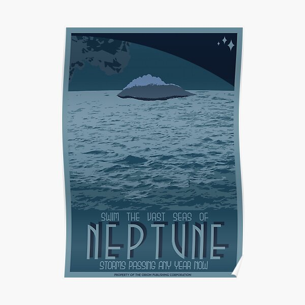 Art Deco Space Travel Poster - Neptune Poster