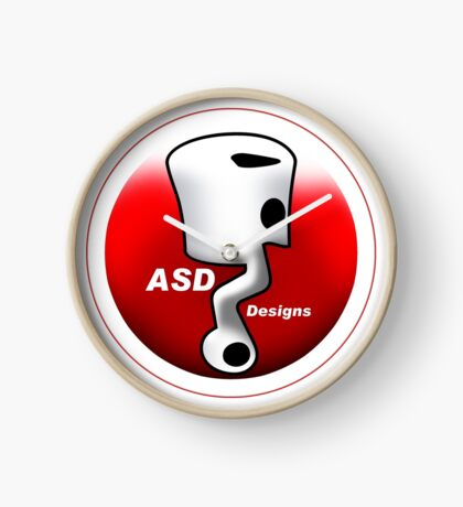 ASD Red and White logo Clock