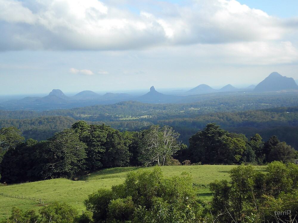 Glass House Mountains (a view from Melany) by terriP