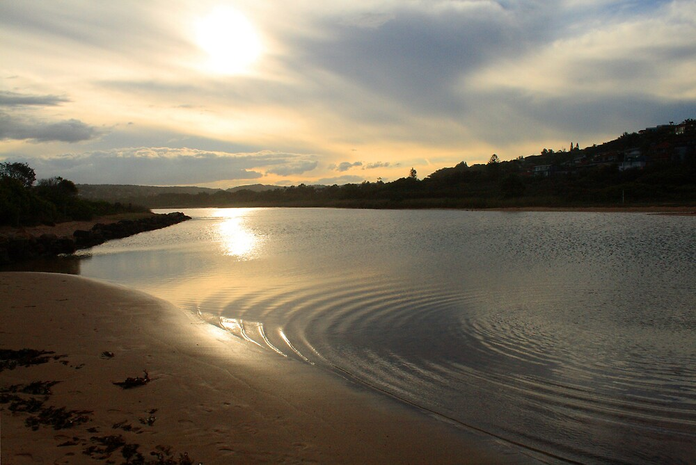 Sunset over mouth of Dee Why Lagoon by Spirit Level Creations