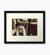 Vintage witch closeup log house Framed Print