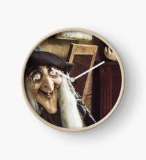 Vintage witch closeup log house Clock
