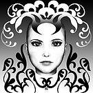 Black and white ornamental Joker von Britta Glodde