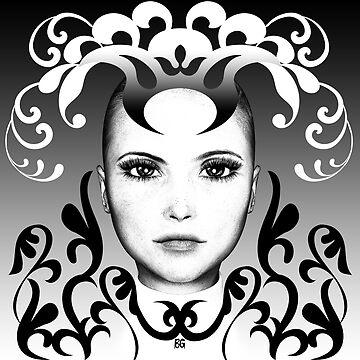 Black and white ornamental Joker by BrittaGlodde