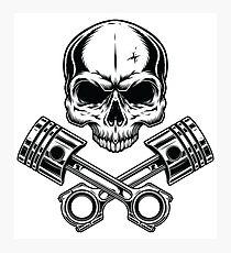 Motorcycle Pirate Skull with Engine Photographic Print